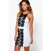 Lace Panel Front Bodycon Dress - ivory