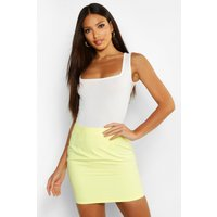Womens Woven Soft Suedette A Line Mini Skirt - yellow - 14, Yellow