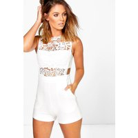 Womens Boutique Crochet Barely There Playsuit - white - S, White