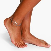 Double Layered Star And Bar Anklet - silver