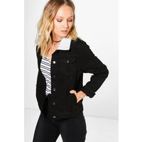 Womens Borg Collar Denim Jacket - black - 6, Black