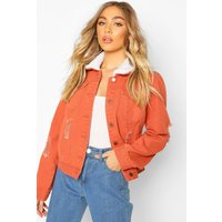 Womens Borg Collar Denim Jacket - orange - 10, Orange