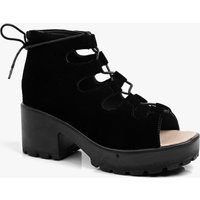 Cleated Peeptoe Lace Up Suedette Sandal - black
