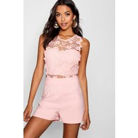 Womens Crochet Playsuit - pink - M, Pink