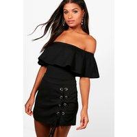 Womens Crepe Frill Bardot Bodysuit - black - 6, Black