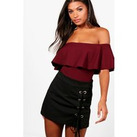 Womens Crepe Frill Bardot Bodysuit - red - 8, Red