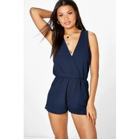 Wrap Front Playsuit - navy