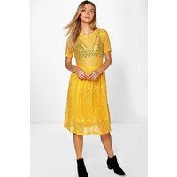 Lace Midi Dress - mustard