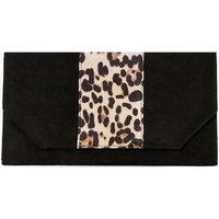 Faux Leopard And Suedette Clutch Bag - black
