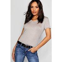 Womens Basic Super Soft V Neck T-Shirt - grey - 6, Grey