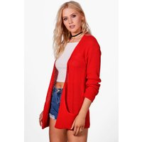 Loose Knit Slouchy Pocket Cardigan - red