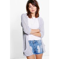 Loose Knit Slouchy Pocket Cardigan - silver