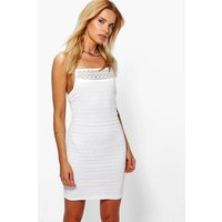 Square Neck Lace Bodycon Dress - ivory