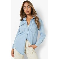 Womens Oversize Bleach Wash Denim Shirt - blue - 6, Blue