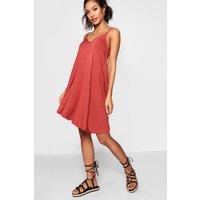 Womens Basic V Neck Swing Dress - brown - 8, Brown