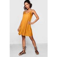 Womens Basic V Neck Swing Dress - Yellow - 14, Yellow