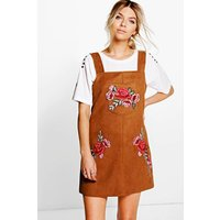 Crisa Embroidered Suede Pinafore Dress - tan