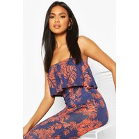Womens Palm Printed Bandeau Detail Maxi Dress - multi - 8, Multi