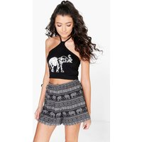 Elephant Print Flippy Shorts - black