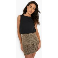 2 in 1 Chiffon Top Sequin Skirt Bodycon Dress