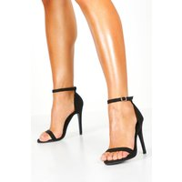 Womens Suedette Skinny Barely There Heels - black - 7, Black