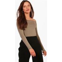 Long Sleeve Bardot Crop Top - khaki