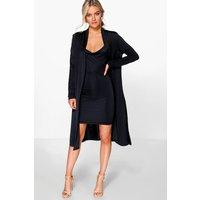 Slinky Cowl Neck Dress & Duster Co-Ord Set - black