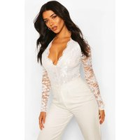 Womens Tall Lace Long Sleeved Body - white - 16, White
