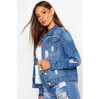 Womens Western Denim Jacket - Blue - 8, Blue