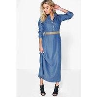 Long Sleeve Button Through Denim Maxi Dress - mid blue