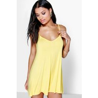 Bright Strappy Swing Playsuit - yellow
