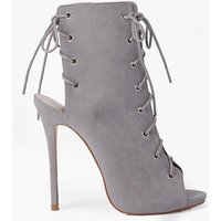 Lace Up Peeptoe Shoe Boot - grey