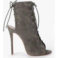 Lace Up Peeptoe Shoe Boot - khaki