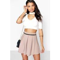 Basic Scuba Box Pleat Skater Skirt - sand