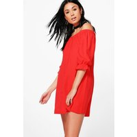 Off The Shoulder Button Shift Dress - red