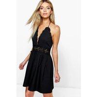 Crochet Lace Skater Dress - black