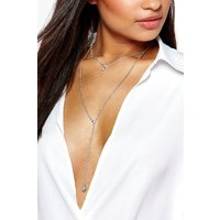 Layered Pendant Plunge Necklace - silver