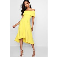 Womens Off The Shoulder Dip Hem Skater Dress - Yellow - 8, Yellow