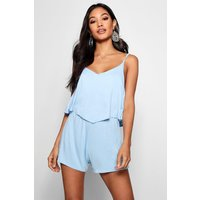 Womens Strappy Cami Overlay Playsuit - blue - 12, Blue