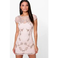 Embellished Bodycon Dress - nude