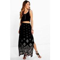 Border Print Maxi Skirt - black