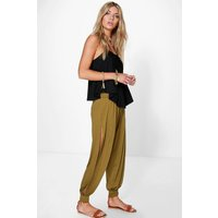 Basic Jersey Split Side Hareem Trousers - dark olive