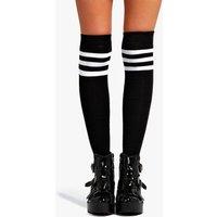 Stripe Top Knee High Socks - black