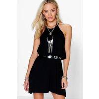 Sleeveless Double Layer Swing Dress - black