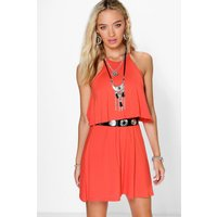 Sleeveless Double Layer Swing Dress - spice