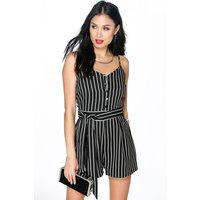 Striped Cami Playsuit - black