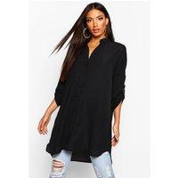 Womens Longline Oversized Sleeve Shirt - Black - L, Black