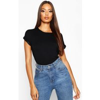Womens Boxy Turn Cuff Basic T-Shirt - Black - 14, Black