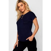 Womens Boxy Turn Cuff Basic T-Shirt - Navy - 6, Navy