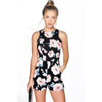 Sleeveless Floral Playsuit - black